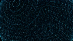 Blue Technology Sphere Rotation. Glowing points, lines and polygons background Stock Footage