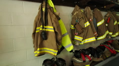 Fire and Rescue Gear In Fire Station Stock Footage