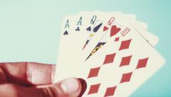 Poker - Two Pairs On The Blue Background Stock Footage