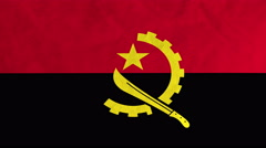 Angolan flag waving in the wind (full frame footage) - stock footage
