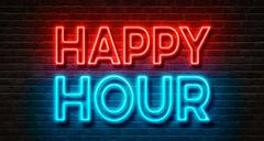 Neon sign on a brick wall - Happy Hour Stock Photos