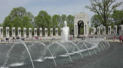 Washington DC National World War II Memorial beautiful fountain Atlantic HD Stock Footage
