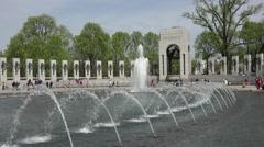 Washington DC National World War II Memorial beautiful fountain Atlantic HD Stock Footage