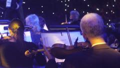 Rock Symphony Concert Kiev Conductor of the Band Long Haired Man Musicians Are Stock Footage
