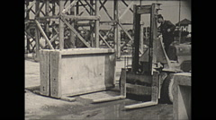 Vintage 16mm film, 1957, France, concrete making forms forklift #2 Stock Footage