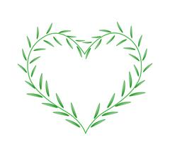 Fresh Green Leaves Forming in Beutiful Heart Shape - stock illustration