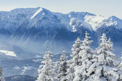 Romanian winter landscape - Bucegi Mountains in Poiana Brasov resort, Romania Stock Photos
