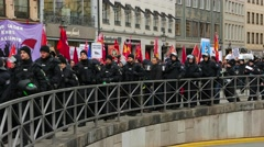 4K Protest Demonstration against 52nd MSC SiKo Nato Security Conference in Stock Footage