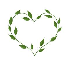 Green Leaves Forming in A Heart Shape Stock Illustration