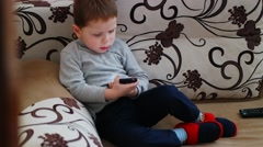 Child Boy Playing With Mobile Phone: Kid Using Smartphone Arkistovideo
