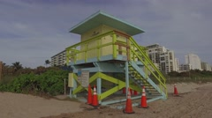 Lifeguard tower Miami Beach Stock Footage