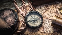 Vintage still life with compass, sextant and binocular Stock Footage