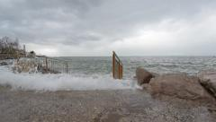 Storm waves on the coast - stock footage