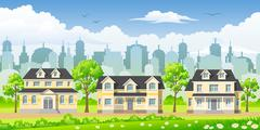 Cityscape with three classic houses - stock illustration