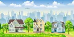 Cityscape with three classic houses Stock Illustration