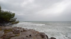Storm wind and waves on the Adriatic coast - stock footage