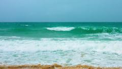 Gentle Waves with Sea Foam on a Tropical Beach Stock Footage