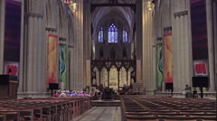 Washington DC National Cathedral main chapel altar HD Stock Footage