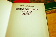 William Shakespeare literature: Romeo and Juliet, Othello, Hamlet - stock photo