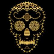 Gold ornamental sugar skull. - stock illustration