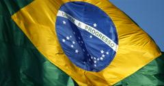 4K - Brazilian flag blowing in the wind.  Brazil. Brasil - stock footage