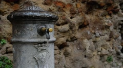 Water faucet in Rome, Italy Stock Footage
