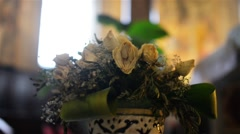 Dried bouquet of roses and other flowers Stock Footage