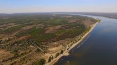 Flight over the river Volga, Volgograd, Russia Stock Footage