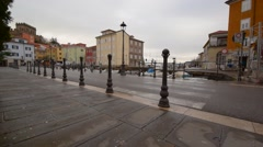 Street in the old Italian town Muggia Stock Footage