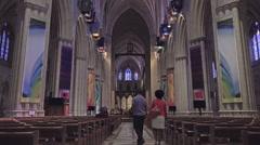 Washington DC National Cathedral walk down isle HD Stock Footage