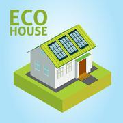 Green House vector concept - stock illustration