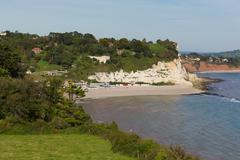 Elevated view of Beer beach Devon England UK English coastal village Stock Photos