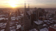 Nashville Snow- Large building and beautiful sunset Stock Footage