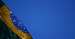 4K - Brazilian flag blowing in the wind.  Brazil. Brasil Stock Footage