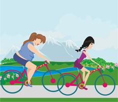 overweight woman and her slim friend riding on bicycles - stock illustration