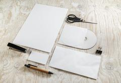 Blank stationery mock-up - stock photo