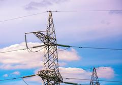 High voltage tower. - stock photo