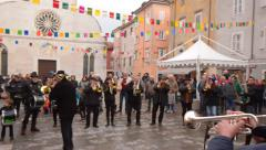 MUGGIA, ITALY -10.02.2016: Traditional closing of carnival Stock Footage