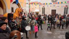 MUGGIA, ITALY -10.02.2016: Traditional closing of carnaval Stock Footage