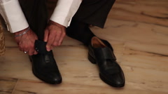 Man shoes tying Stock Footage