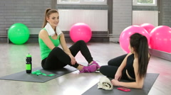 Sport connecting people friends relaxing after workout Stock Footage