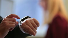 Businessman using smart Watch in the office. Close-up. - stock footage