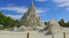 Worlds tallest sand castle - stock footage