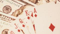 Poker - Royal Flash On The Dollars Background Stock Footage