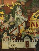 Thai mural painting on temple wall Stock Photos