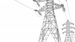 Electrical Power Lines and Pylons on white background. Stock Footage