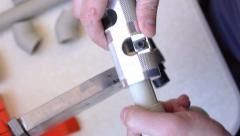 Using pipe peeling tool Stock Footage