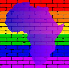 Transexual Rainbow Wall With Africa Map - stock illustration