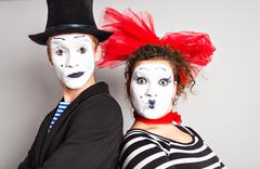 Street artists performing, Two mimes man and  woman in april fools day Stock Photos