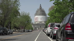 Washington DC Nations Capitol Building traffic taxi fast HD Stock Footage
